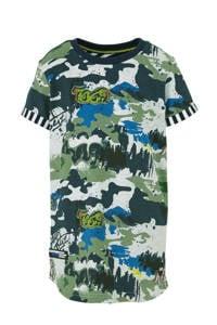 Quapi T-shirt Alberto met all over print groen/lichtgroen/blauw, Groen/lichtgroen/blauw