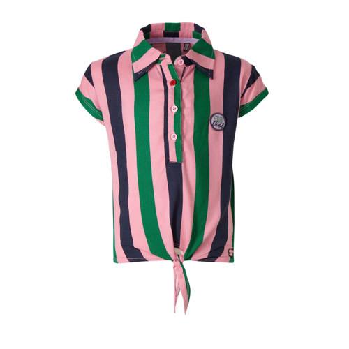 Quapi gestreepte top Amine roze/groen/donkerblauw