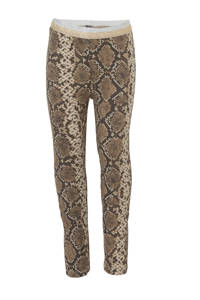 Quapi regular fit legging Annebel met slangenprint bruin/antraciet/zilver, Bruin/antraciet/zilver