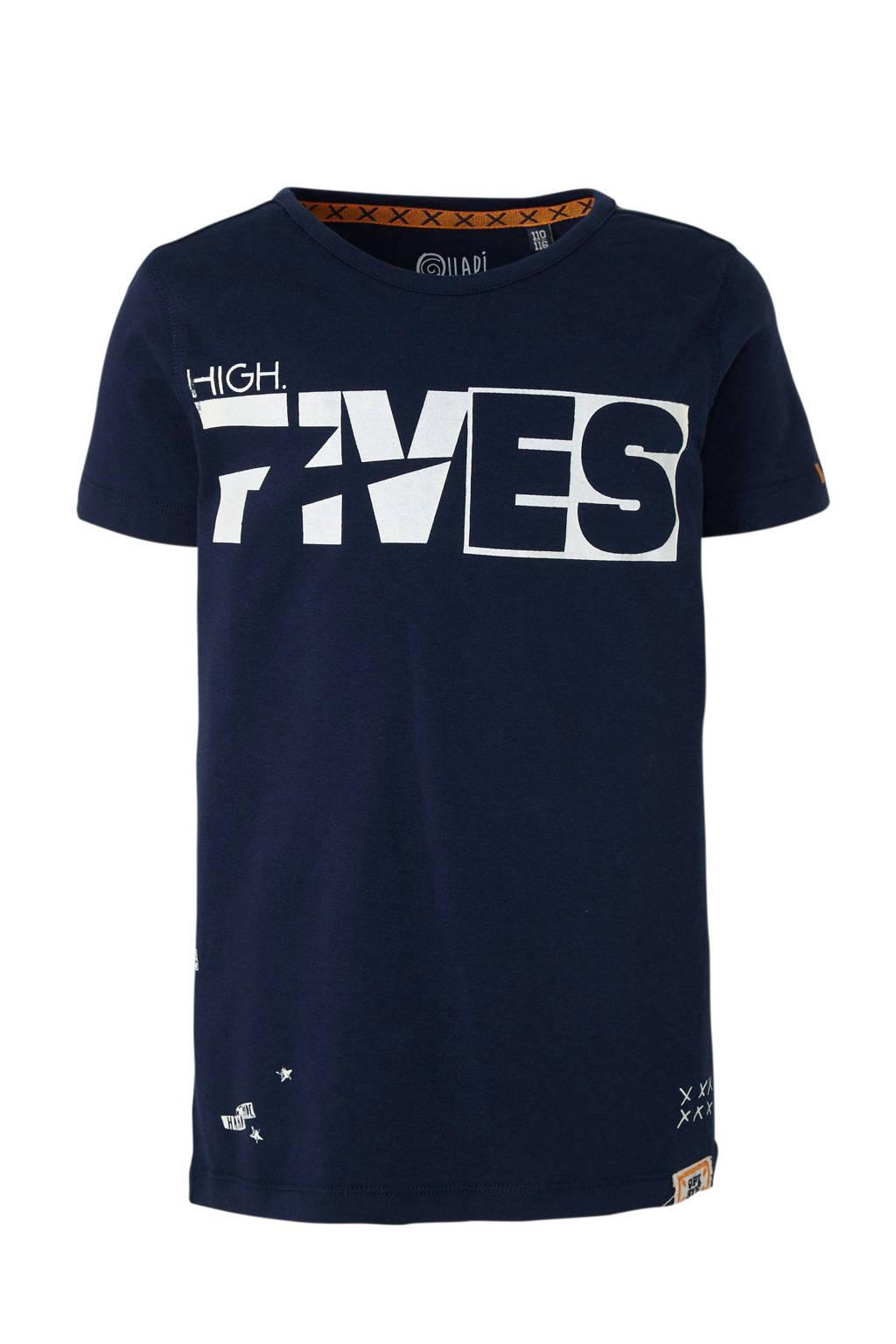 Quapi T-shirt Alec met printopdruk donkerblauw/wit, Donkerblauw/wit