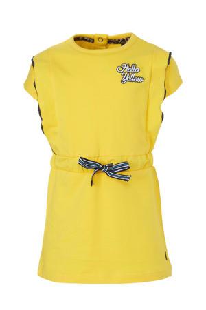 jersey jurk Baukje met borduursels geel/zwart/wit