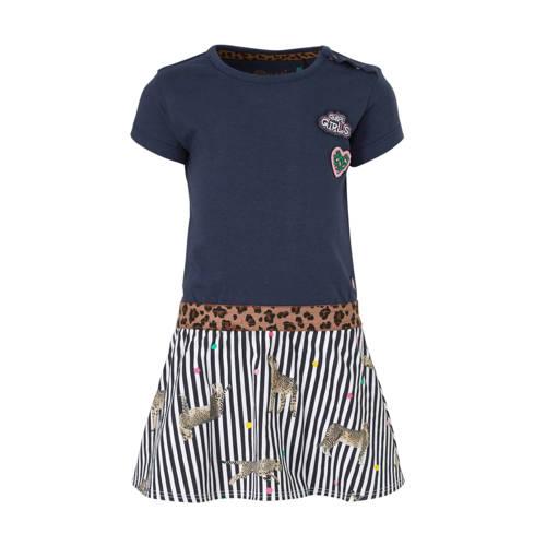 Quapi jersey jurk Berdine donkerblauw/wit/bruin