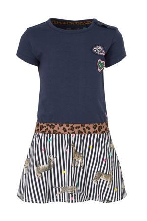 jersey jurk Berdine donkerblauw/wit/bruin