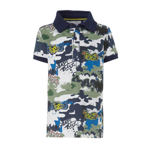 Quapi polo Andreas met all over print donkerblauw/