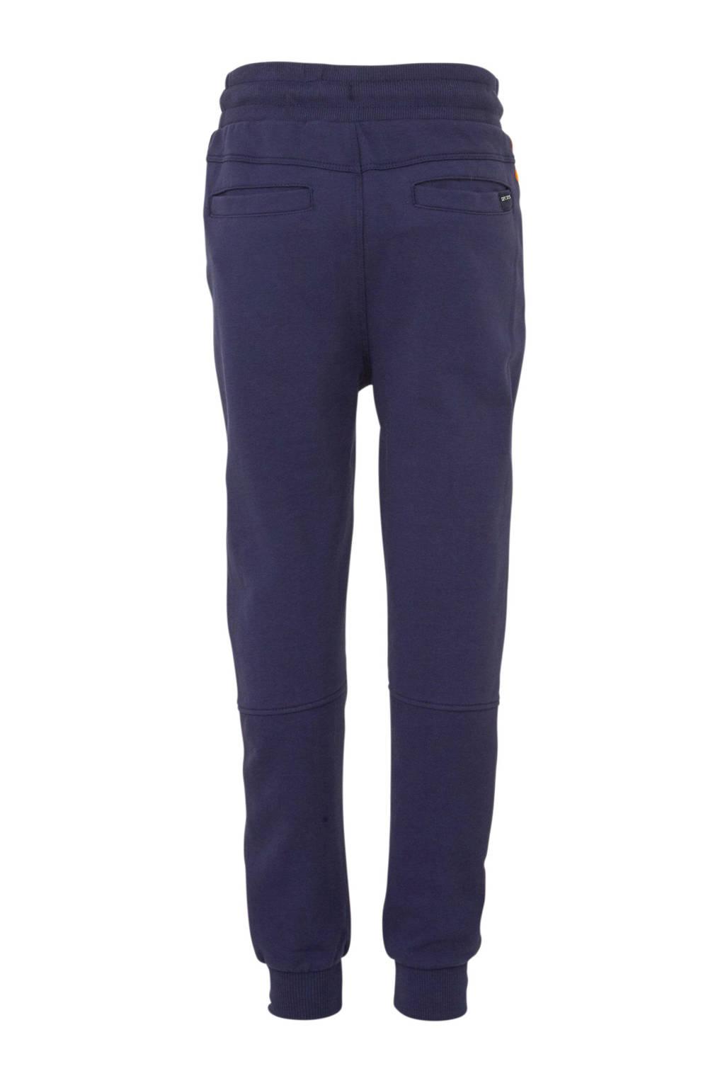 Quapi   regular fit joggingbroek Axel met zijstreep donkerblauw/okergeel, Donkerblauw/okergeel