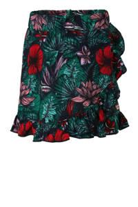 Quapi gebloemde rok Anouk donkerblauw/groen/rood, Donkerblauw/Groen/Rood