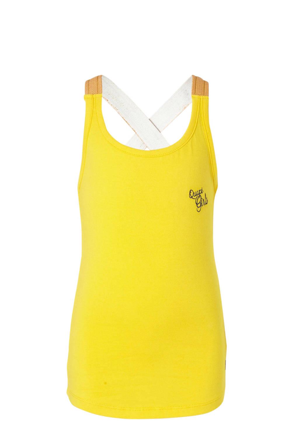 Quapi top Amielle en borduursels geel, Geel