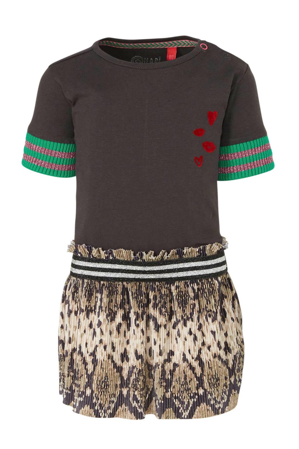 Quapi jersey jurk Bailey met slangenprint en borduursels antraciet/beige/groen, Antraciet/beige/groen