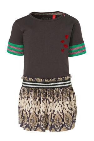 jersey jurk Bailey met slangenprint en borduursels antraciet/beige/groen