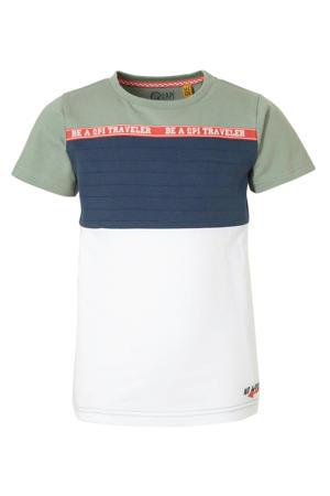 T-shirt Alex groengrijs/wit/donkerblauw