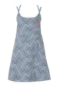 Quapi A-lijn jurk Abellyn met grafische print blauw/wit, Blauw/wit
