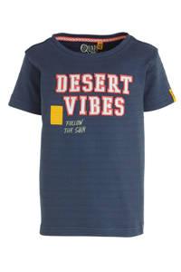 Quapi T-shirt Alfano met tekst donkerblauw, Donkerblauw