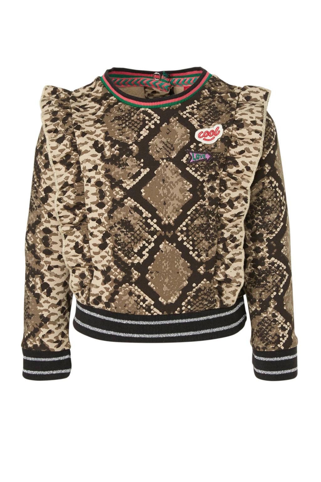 Quapi sweater Betty met slangenprint en glitters bruin/beige/zwart, Bruin/beige/zwart