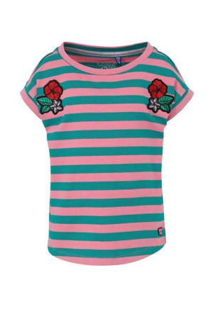 gestreept T-shirt Aliah roze/groen