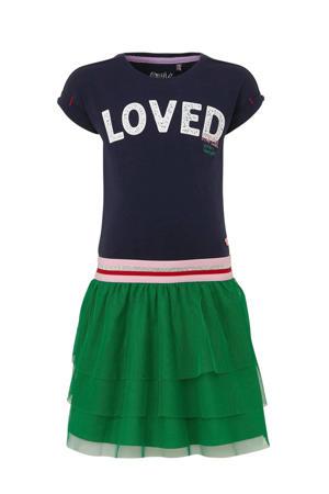 jurk Aiza met tekst en tule rok donkerblauw/groen