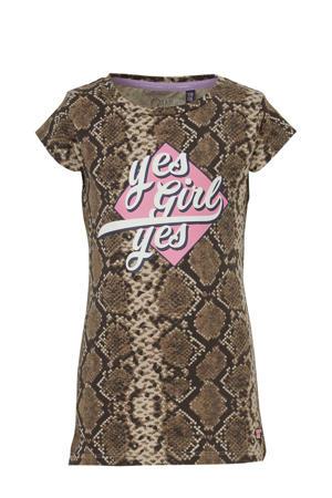 T-shirt Alin met slangenprint bruin/zwart/roze