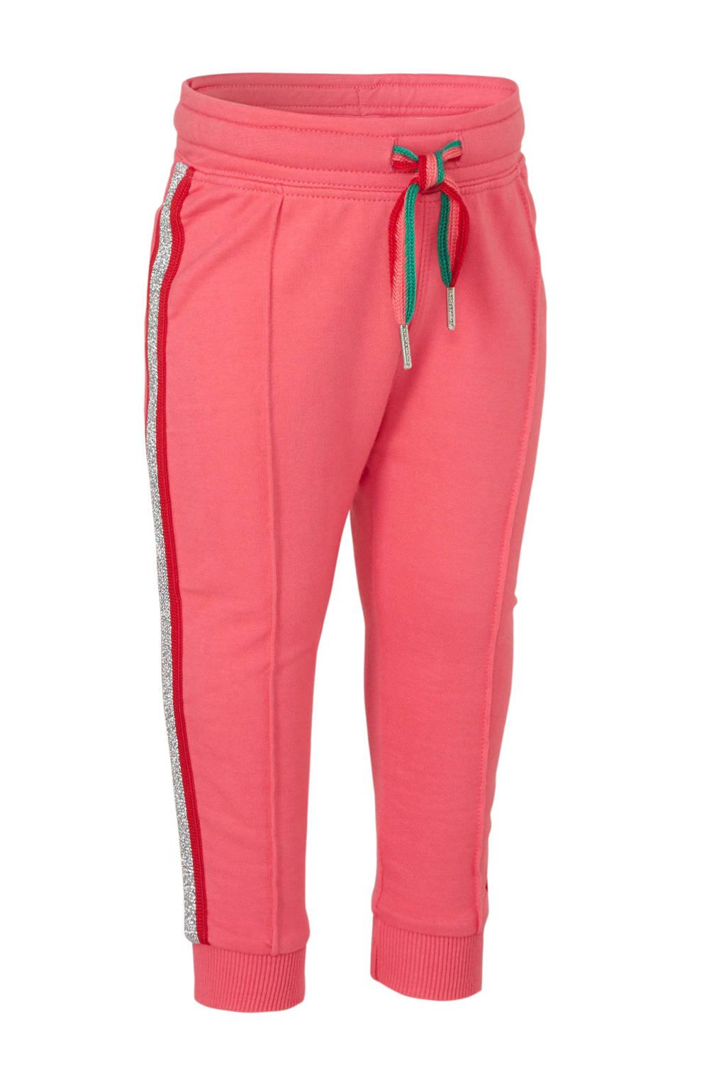 Quapi regular fit joggingbroek Britney met zijstreep roze/rood/zilver, Roze/rood/zilver