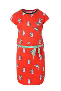 Quapi T-shirtjurk Aafje met all over print en patches rood/wit/groen, Rood/wit/groen