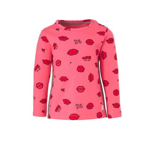 Quapi longsleeve Bente met contrastbies roze/rood/