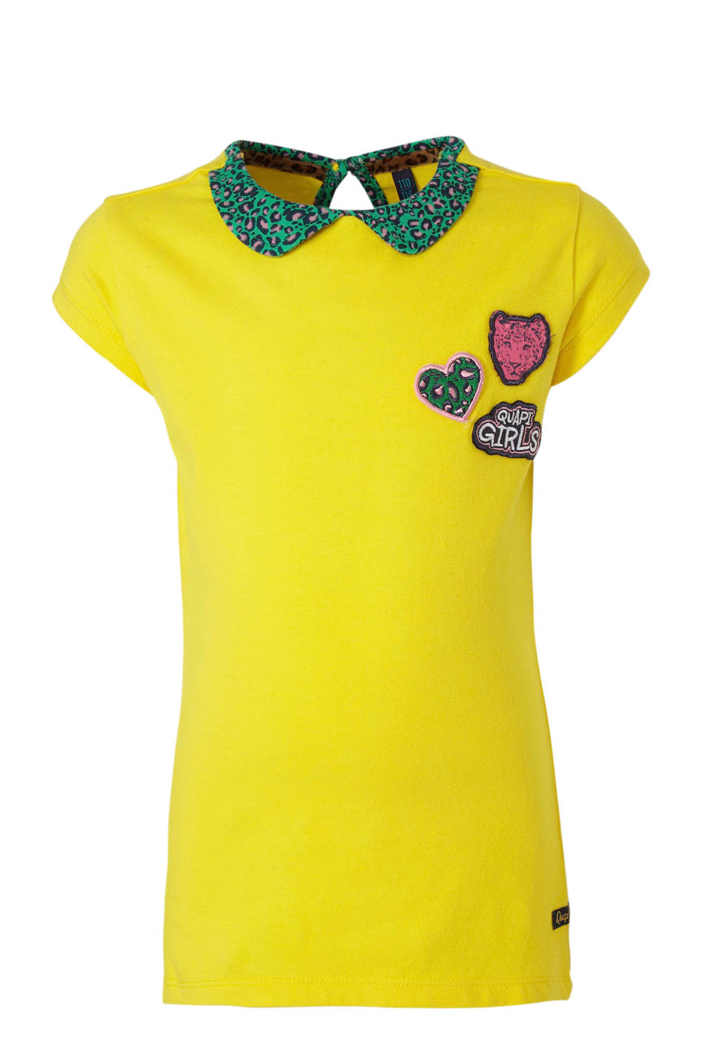 Quapi top Andie met panterprint en borduursels geel/groen, Geel/groen