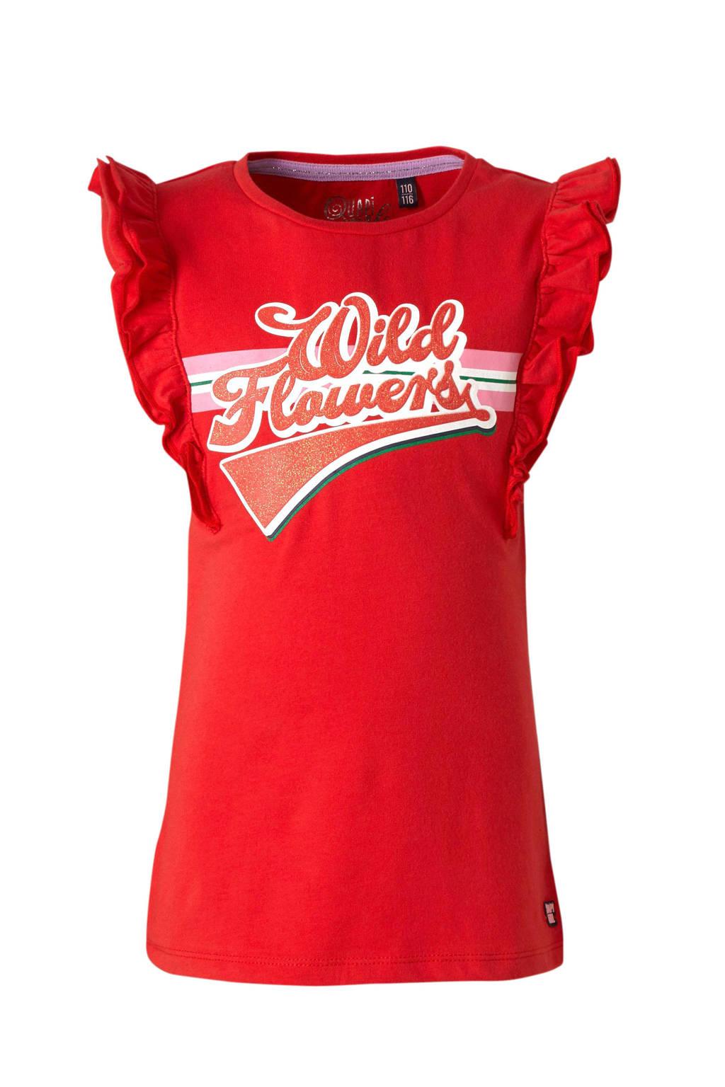 Quapi T-shirt Alisse met printopdruk en ruches rood, Rood