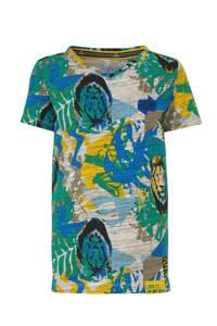 Quapi T-shirt Abdel met all over print groen/blauw/grijs, Groen/blauw/grijs