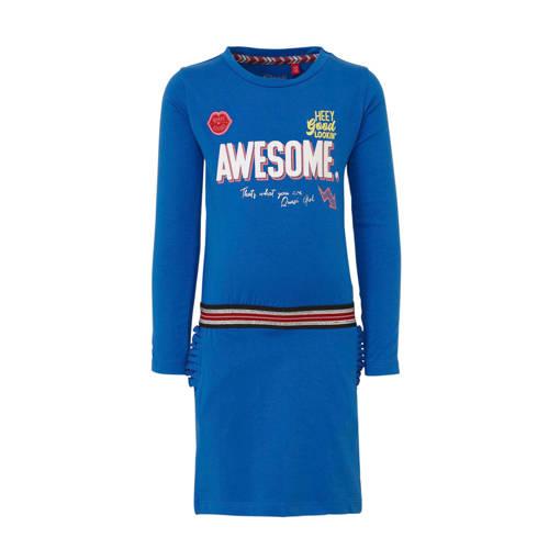 Quapi jersey jurk Abba met contrastbies helder bla