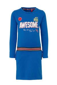 Quapi jersey jurk Abba met contrastbies helder blauw, Helder blauw
