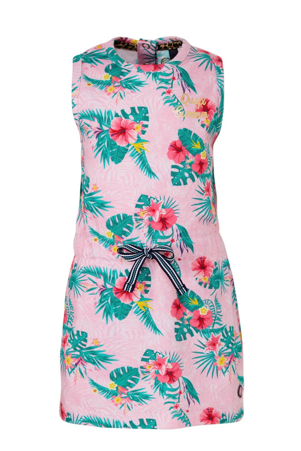 Quapi gebloemde jersey jurk Bellini lichtroze/donkergroen/donkerroze, Lichtroze/donkergroen/donkerroze