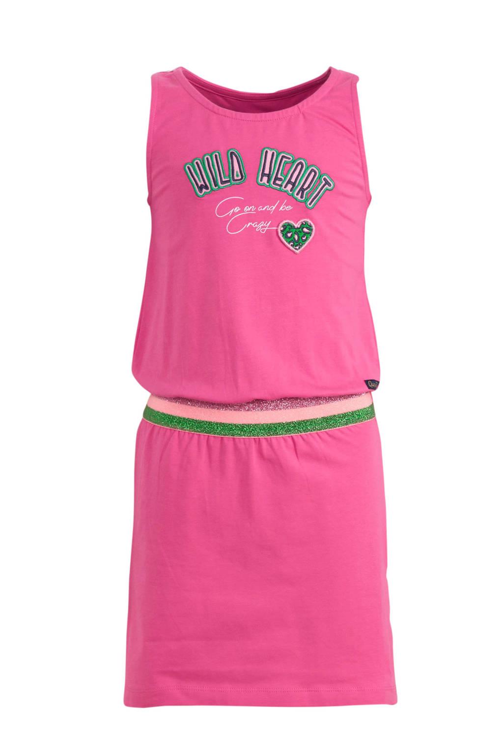 Quapi jersey jurk Aliza met printopdruk en glitters roze/groen/lichtroze, Roze/groen/lichtroze