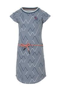 Quapi T-shirtjurk Aafje met grafische print en borduursels blauw/wit, Blauw/wit