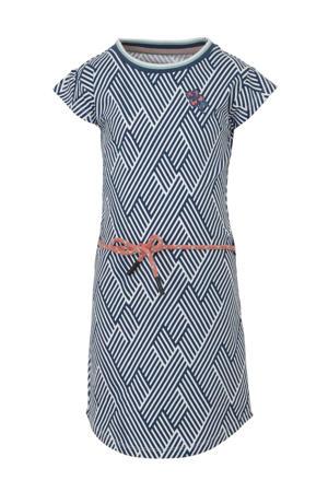 T-shirtjurk Aafje met grafische print en borduursels blauw/wit