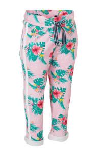Quapi gebloemde regular fit broek Britt met zijstreep lichtroze/groen/geel, Lichtroze/groen/geel