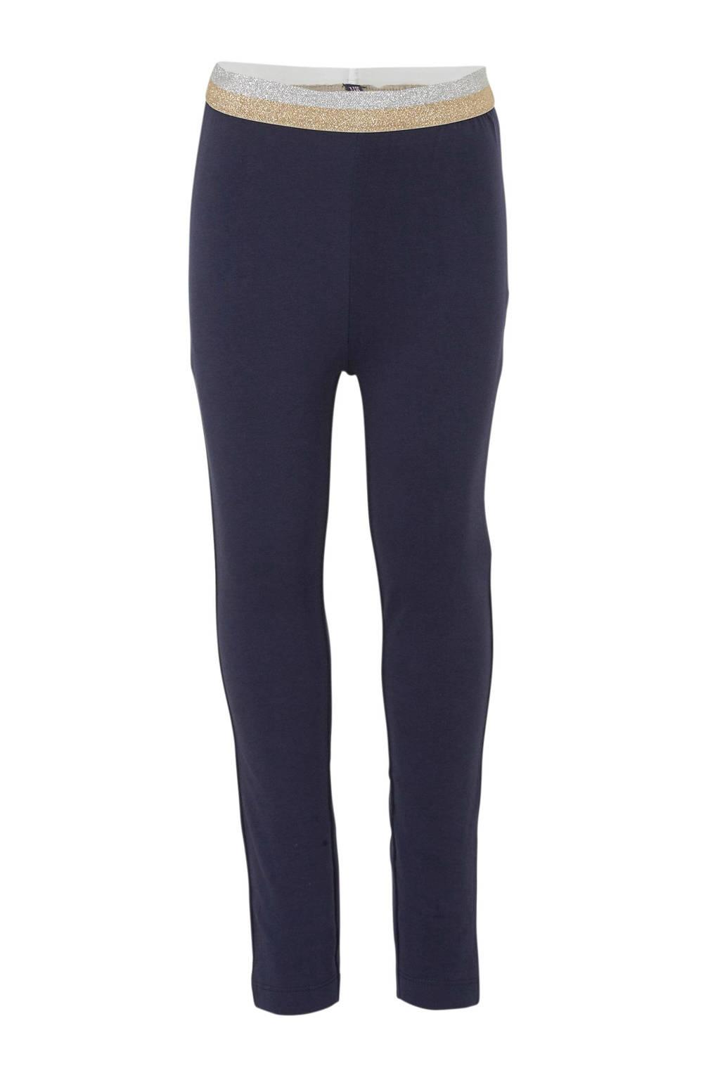 Quapi regular fit legging Annebel donkerblauw/zilver/goud, Donkerblauw/zilver/goud