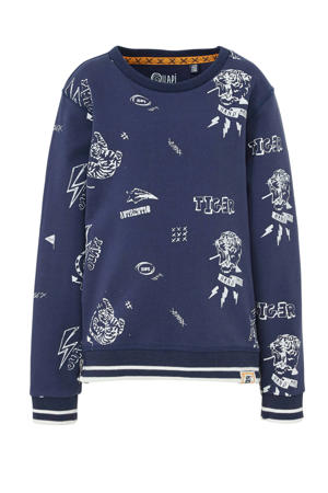 sweater Andre met all over print donkerblauw/wit