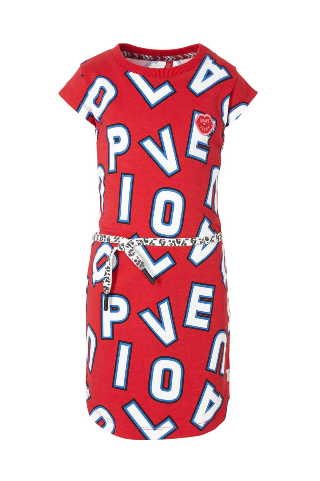 Quapi T-shirtjurk Aafje met all over print en ceintuur rood/wit/blauw, Rood/wit/blauw