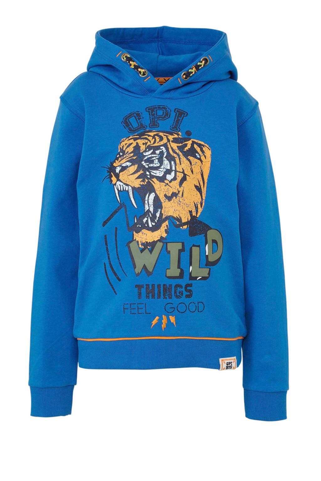 Quapi hoodie Angelo met printopdruk blauw, Blauw