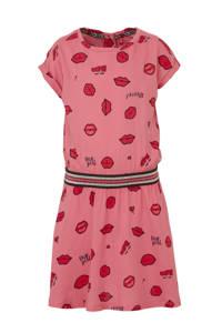 Quapi jurk Adiva met all over print roze/rood, Roze/rood