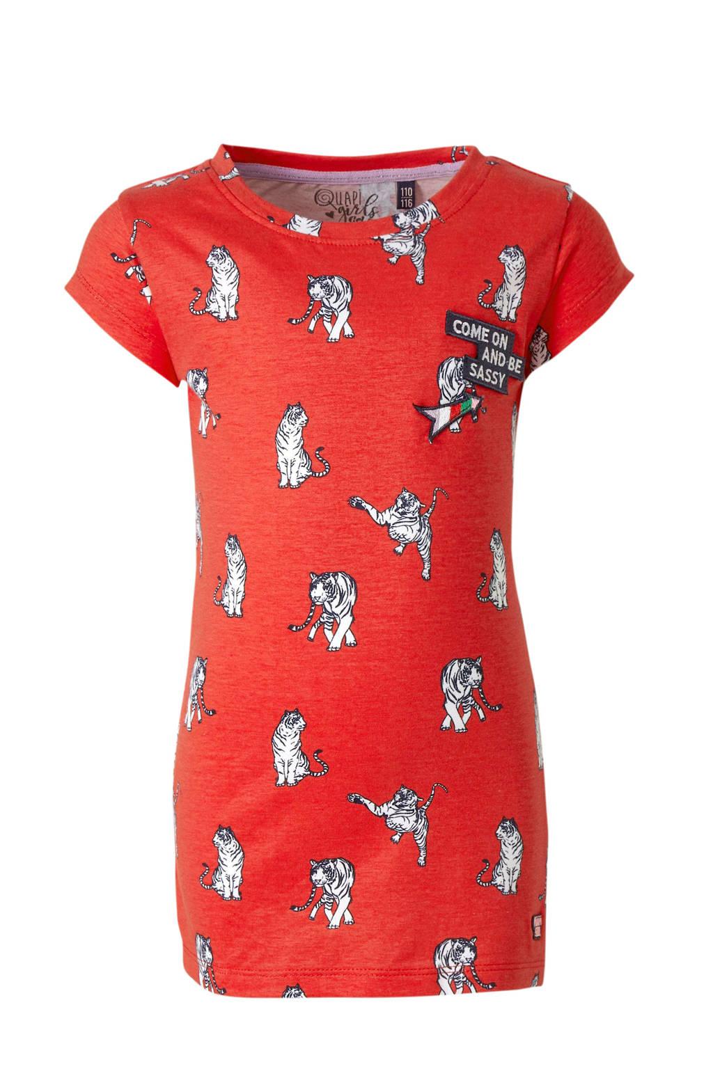 Quapi T-shirt Alin met all over print en patches rood/wit/zwart, Rood/wit/zwart