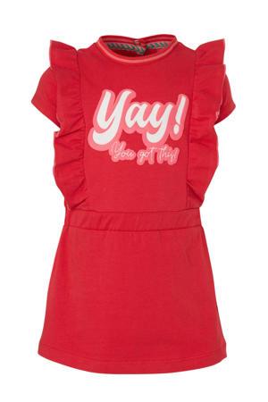 jersey jurk Beauty met printopdruk en ruches rood/lichtroze/wit