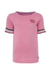 Quapi gemêleerde fijngebreide top Ambika roze/zilver, Roze/Zilver