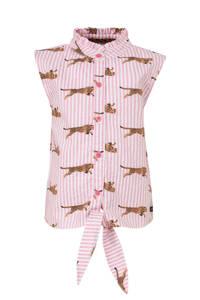 Quapi blouse Anneke met all over print en ruches lichtroze/bruin, Lichtroze/bruin