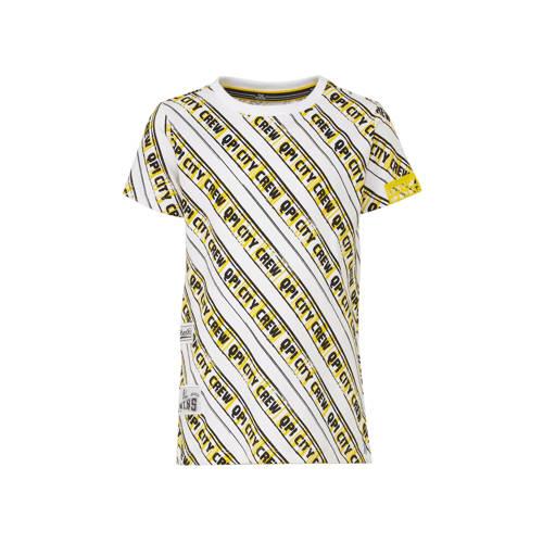 Quapi T-shirt Adam met all over print geel/wit/zwa