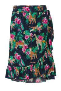 Quapi gebloemde rok Ariella donkerblauw/groen/roze