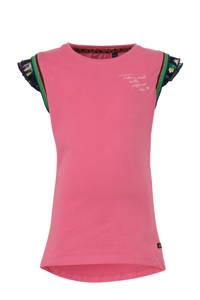 Quapi T-shirt Amber met tekst en ruches roze/donkerblauw/groen, Roze/donkerblauw/groen