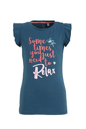 T-shirt Ailise met tekst en ruches blauw