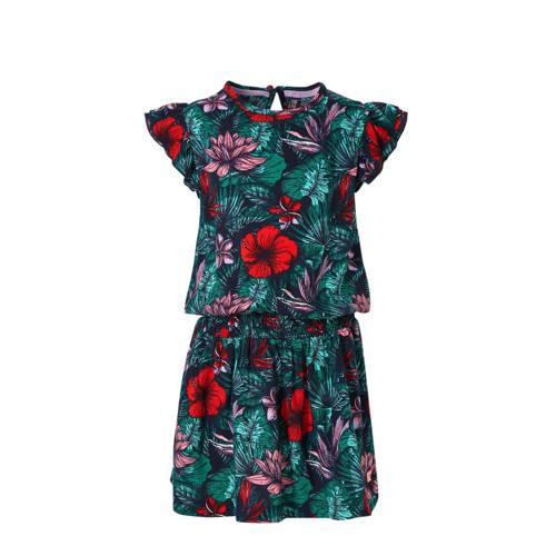 Quapi gebloemde jurk Aafke donkerblauw/groen/rood