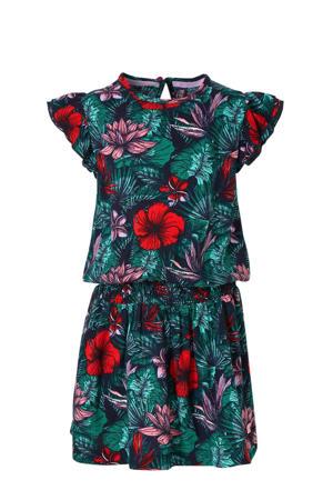 gebloemde jurk Aafke donkerblauw/groen/rood