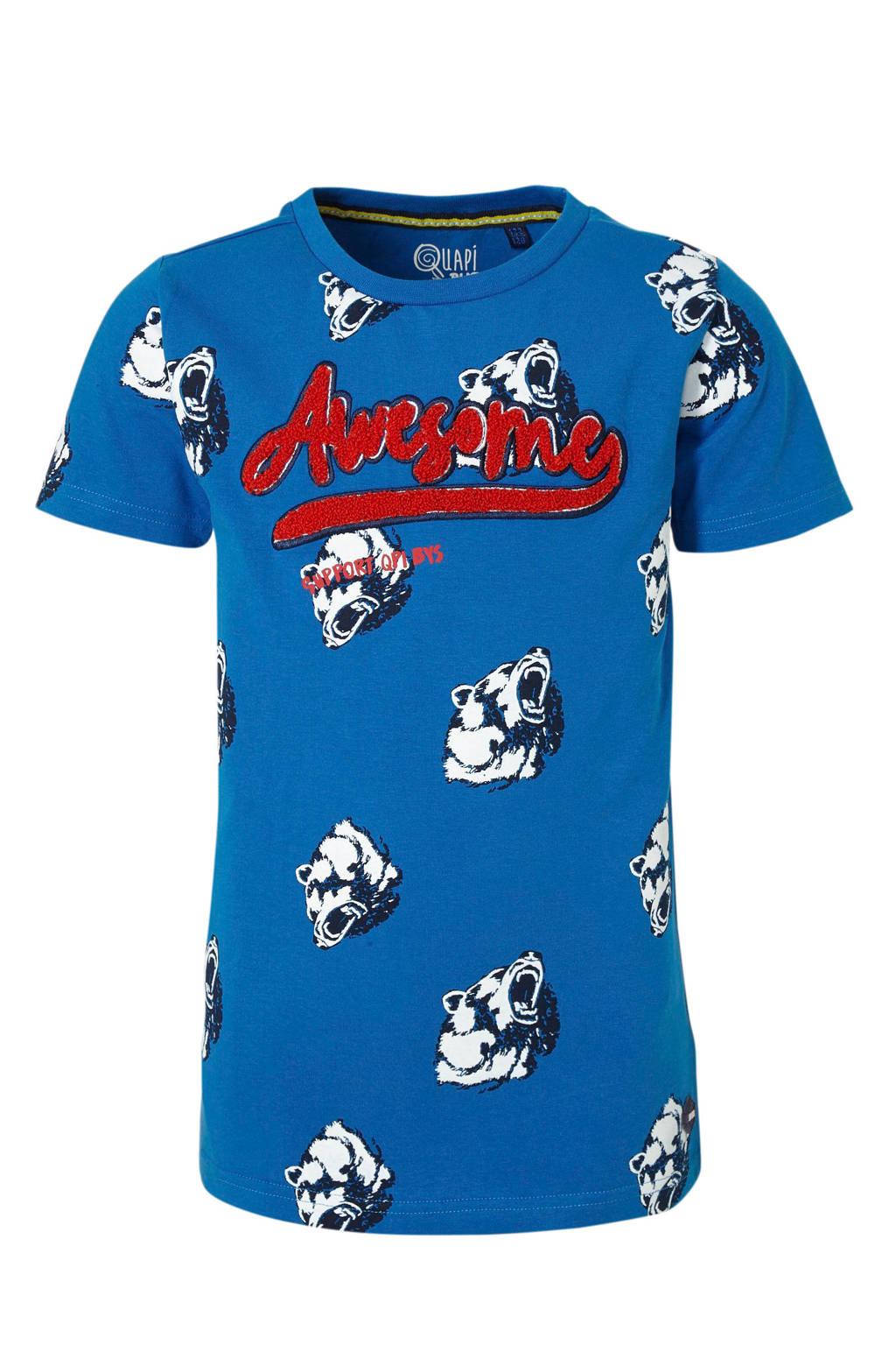 Quapi T-shirt Adian met all over print blauw/zwart/rood, Blauw/zwart/rood