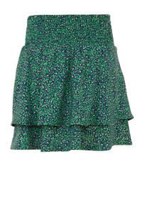Quapi rok Anouska met panterprint en ruches groen/lichtroze/donkerblauw, Groen/lichtroze/donkerblauw